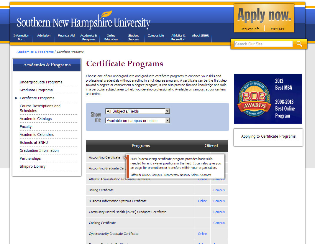 Snhu Academic Calendar.Miller Systems Southern New Hampshire University Web Site Design